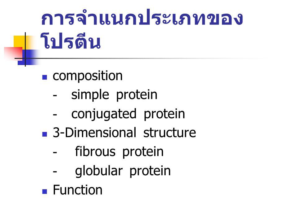 การจำแนกประเภทของ โปรตีน composition -simple protein -conjugated protein 3-Dimensional structure - fibrous protein - globular protein Function