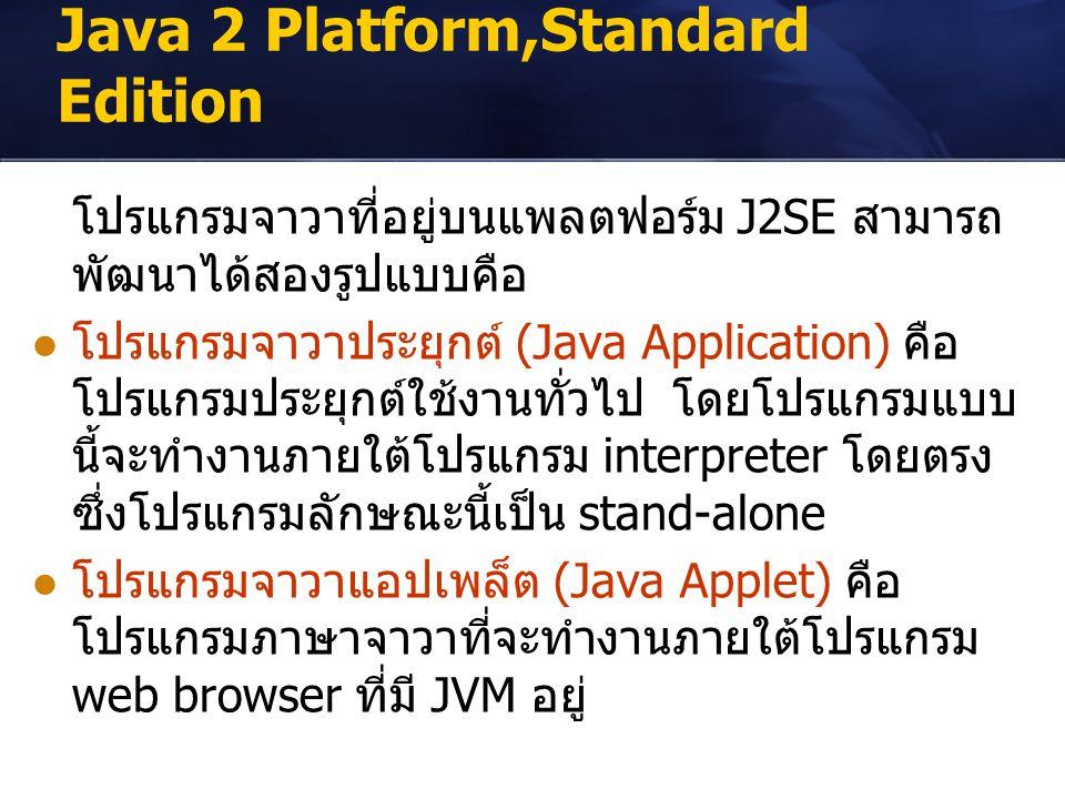 Java 2 Platform,Standard Edition โปรแกรมจาวาที่อยู่บนแพลตฟอร์ม J2SE สามารถ พัฒนาได้สองรูปแบบคือ โปรแกรมจาวาประยุกต์ (Java Application) คือ โปรแกรมประย