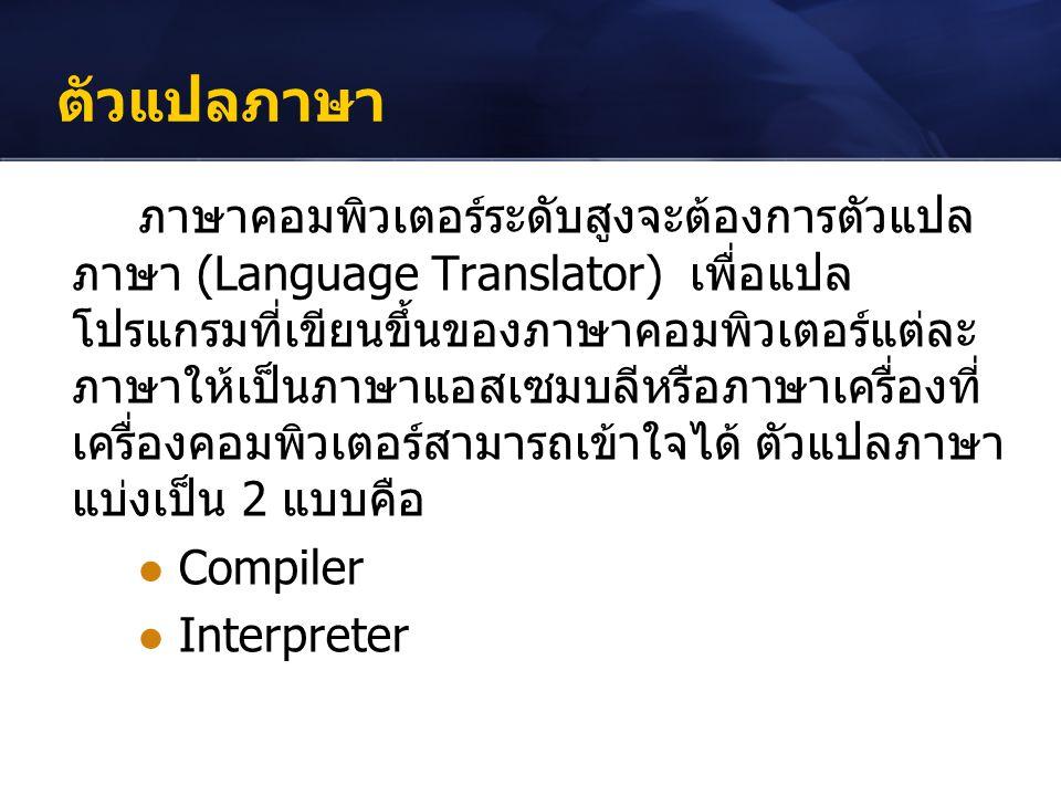 ตัวแปลภาษา ภาษาคอมพิวเตอร์ระดับสูงจะต้องการตัวแปล ภาษา (Language Translator) เพื่อแปล โปรแกรมที่เขียนขึ้นของภาษาคอมพิวเตอร์แต่ละ ภาษาให้เป็นภาษาแอสเซม
