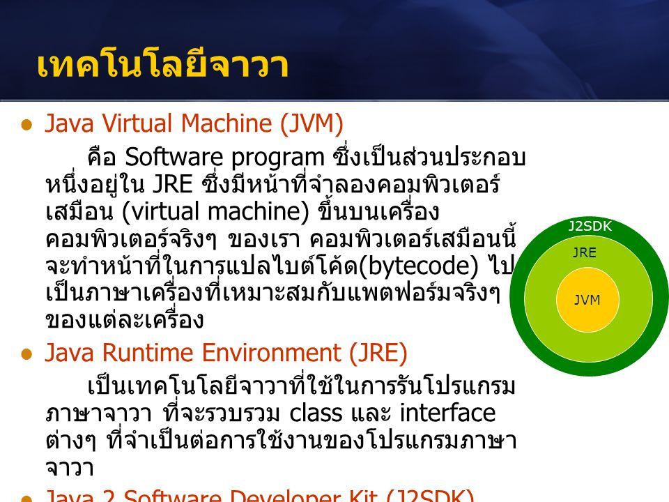 เทคโนโลยีจาวา Java Virtual Machine (JVM) คือ Software program ซึ่งเป็นส่วนประกอบ หนึ่งอยู่ใน JRE ซึ่งมีหน้าที่จำลองคอมพิวเตอร์ เสมือน (virtual machine