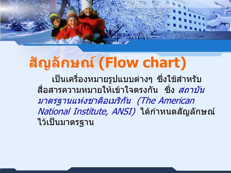 สัญลักษณ์ (Flow chart) เป็นเครื่องหมายรูปแบบต่างๆ ซึ่งใช้สำหรับ สื่อสารความหมายให้เข้าใจตรงกัน ซึ่ง สถาบัน มาตรฐานแห่งชาติอเมริกัน (The American National Institute, ANSI) ได้กำหนดสัญลักษณ์ ไว้เป็นมาตรฐาน