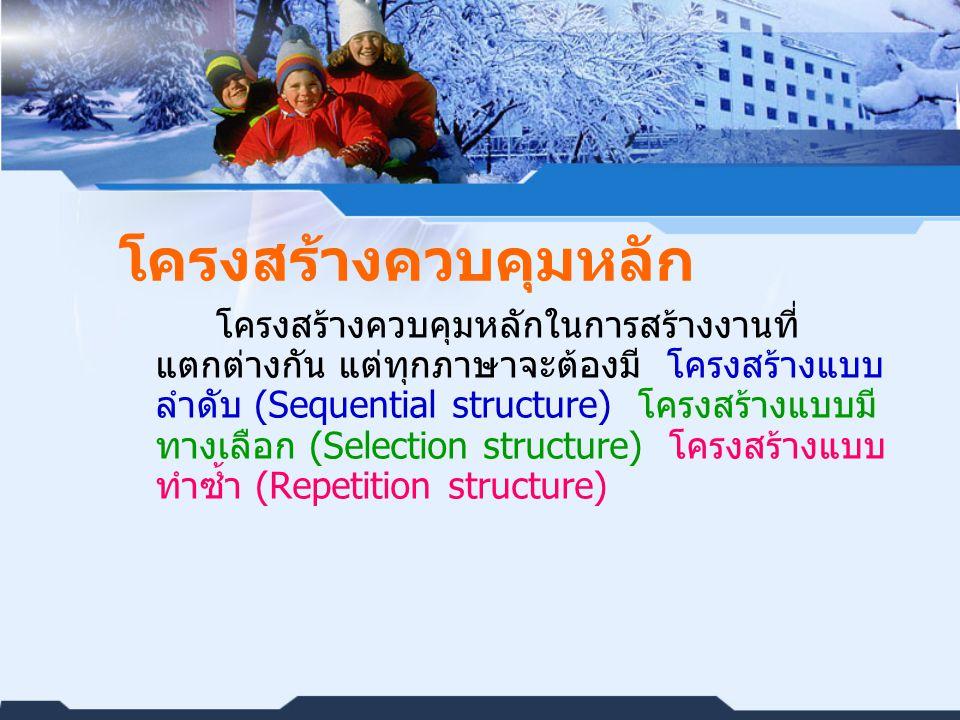 โครงสร้างควบคุมหลัก โครงสร้างควบคุมหลักในการสร้างงานที่ แตกต่างกัน แต่ทุกภาษาจะต้องมี โครงสร้างแบบ ลำดับ (Sequential structure) โครงสร้างแบบมี ทางเลือก (Selection structure) โครงสร้างแบบ ทำซ้ำ (Repetition structure)
