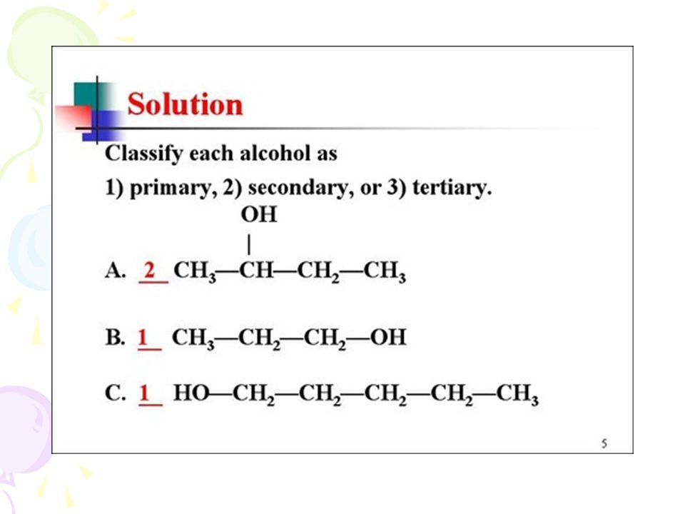 Physical Properties of Alcohols R-OH หมู่ -OH ทำให้แอลกอฮอล์เป็นโมเลกุล มีขั้ว Hydrogen bond Alcohol ที่มีจำนวนคาร์บอนต่ำ จะละลายน้ำได้ดี มาก เนื่องจากเกิดพันธะไฮโดรเจนกับน้ำได้ โดยทั่วไป 1 o แอลกอฮอล์ที่มีจำนวนคาร์บอนไม่ เกิน 4 จะละลายน้ำได้ดี เมื่อคาร์บอนเพิ่มขึ้น ความสามารถในการละลายน้ำจะลดลง