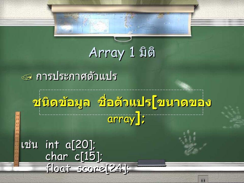 การประกาศตัวแปรและกำหนดค่าเริ่มต้นใน คราวเดียว int a[7] = { 1, 2, 3, 4, 5}; 0532140 a a[0] a[1] a[2] a[3] a[4] a[5] a[6] สังเกตว่า a[5] และ a[6] จะเป็น 0 เพราะกำหนดค่าเริ่มต้นเพียง 5 ค่าเท่านั้น