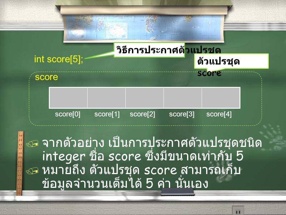 การระบุตำแหน่งหรือค่าใน array จะใช้ ตัวเลข index / score[0] คือ คะแนนสอบของนักเรียน คนที่ 1 จะเห็นว่า ตัวแปร array ง่ายต่อการอ้างอิงเพื่อ ใช้งาน / score[0] คือ คะแนนสอบของนักเรียน คนที่ 1 จะเห็นว่า ตัวแปร array ง่ายต่อการอ้างอิงเพื่อ ใช้งาน ซึ่งถ้าไม่ใช้ array จะต้องประกาศตัวแปรถึง 5 ตัว หรือถ้า ต้องการเก็บคะแนนของนักเรียน 24 คน ก็เพียงประกาศ int score[24]; ไม่จำเป็นต้องประกาศตัวแปรถึง 24 ตัว !!.
