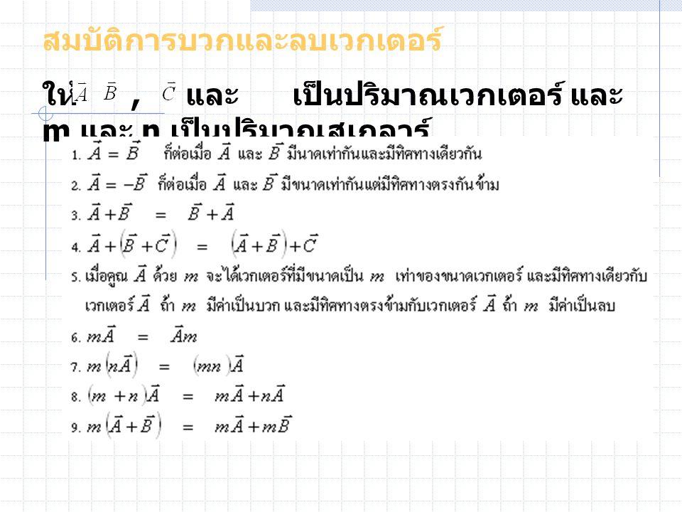 สมบัติการบวกและลบเวกเตอร์ ให้, และ เป็นปริมาณเวกเตอร์ และ m และ n เป็นปริมาณสเกลาร์