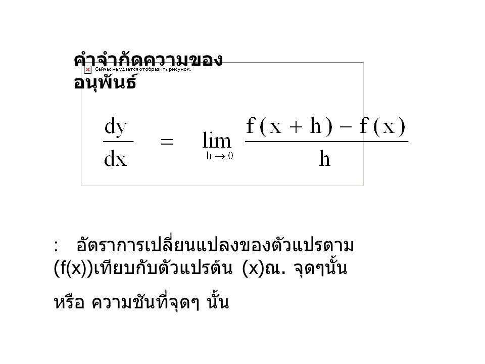 คำจำกัดความของ อนุพันธ์ : อัตราการเปลี่ยนแปลงของตัวแปรตาม (f(x)) เทียบกับตัวแปรต้น (x) ณ. จุดๆนั้น หรือ ความชันที่จุดๆ นั้น