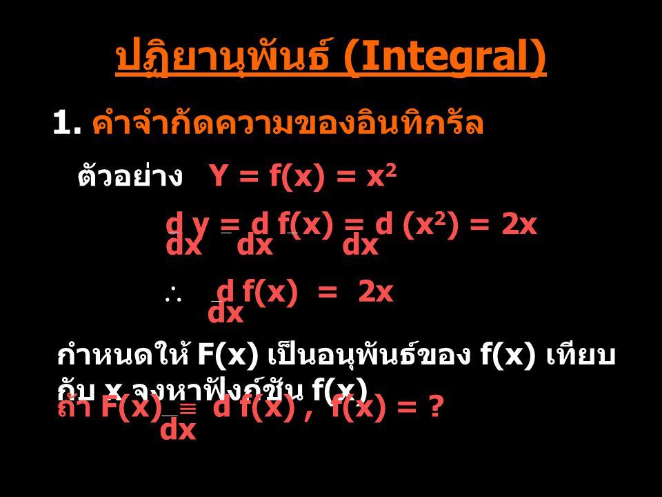 ตัวอย่าง ที่ 5 วิธีทำ กำหนดให้ u = cosx du = -sinx dx du = -sinxdx ANS