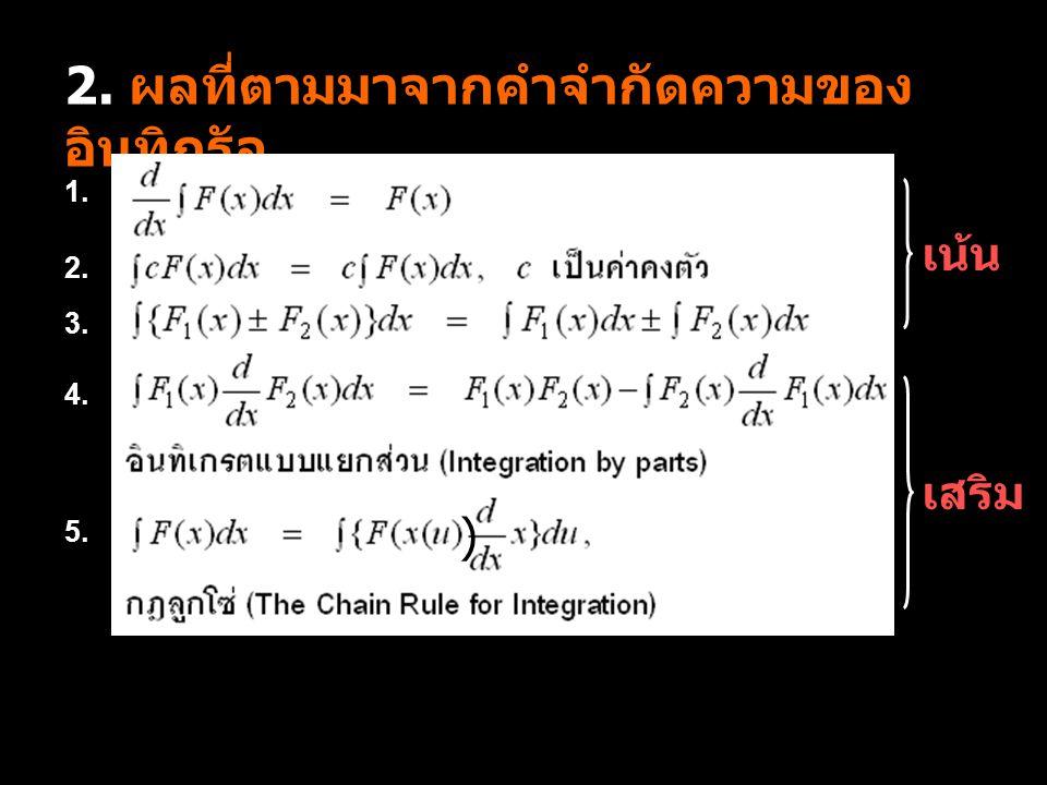 3. สูตรของการอินทิกรัล 1. 2. 3. 4. 5. 2. 6. 7. 8. เน้น เสริม