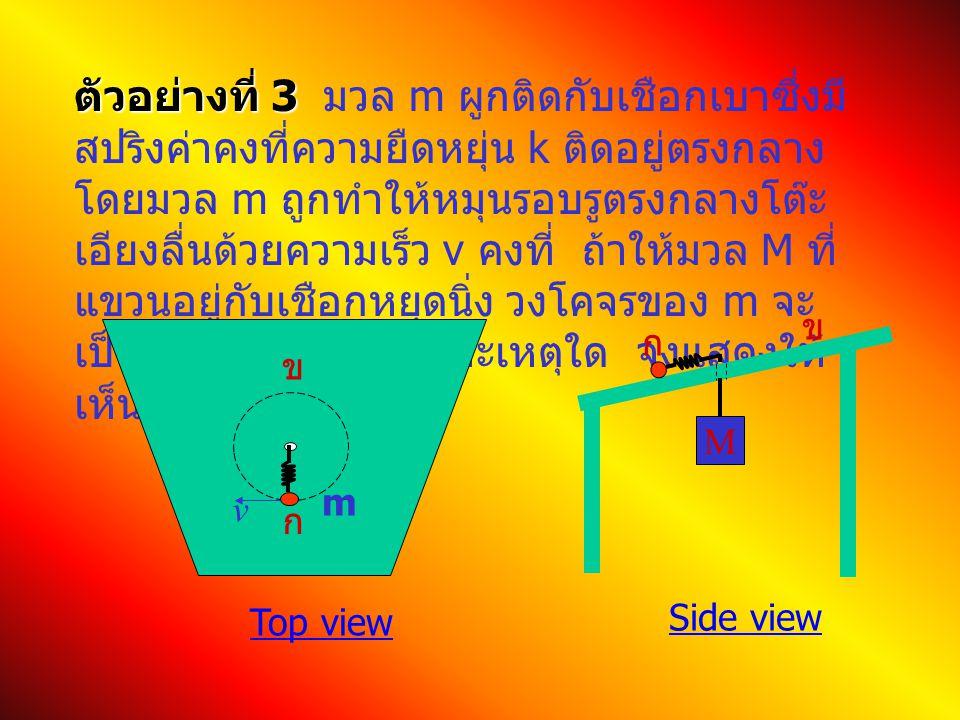 ตัวอย่างที่ 3 ตัวอย่างที่ 3 มวล m ผูกติดกับเชือกเบาซึ่งมี สปริงค่าคงที่ความยืดหยุ่น k ติดอยู่ตรงกลาง โดยมวล m ถูกทำให้หมุนรอบรูตรงกลางโต๊ะ เอียงลื่นด้วยความเร็ว v คงที่ ถ้าให้มวล M ที่ แขวนอยู่กับเชือกหยุดนิ่ง วงโคจรของ m จะ เป็นวงกลมหรือไม่ เพราะเหตุใด จงแสดงให้ เห็น M ก ข Top view Side view ก ข m v