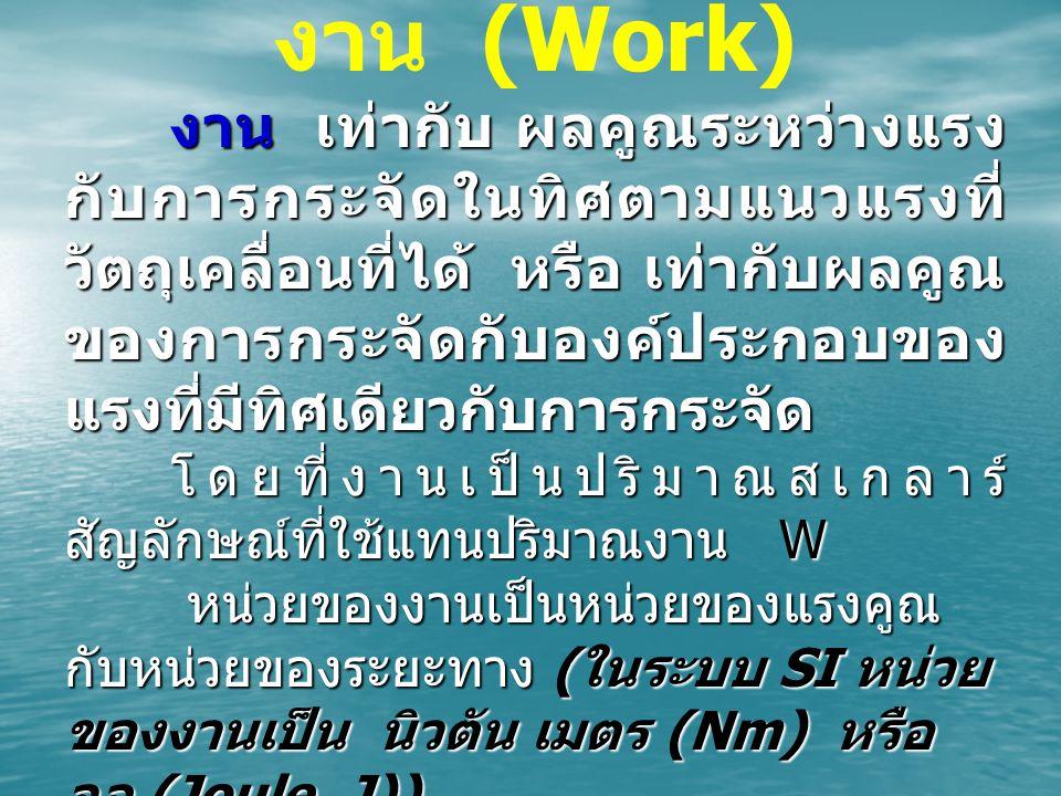 งาน (Work) งาน เท่ากับ ผลคูณระหว่างแรง กับการกระจัดในทิศตามแนวแรงที่ วัตถุเคลื่อนที่ได้ หรือ เท่ากับผลคูณ ของการกระจัดกับองค์ประกอบของ แรงที่มีทิศเดีย
