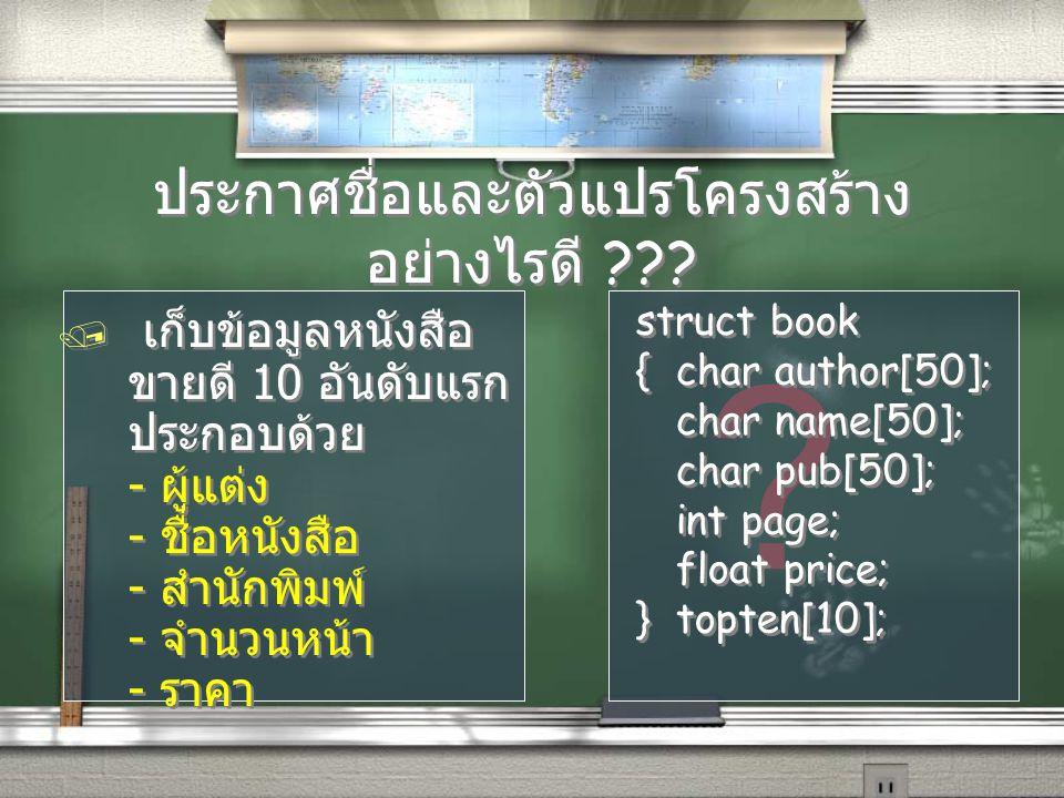 ? ประกาศชื่อและตัวแปรโครงสร้าง อย่างไรดี ??? / เก็บข้อมูลหนังสือ ขายดี 10 อันดับแรก ประกอบด้วย - ผู้แต่ง - ชื่อหนังสือ - สำนักพิมพ์ - จำนวนหน้า - ราคา