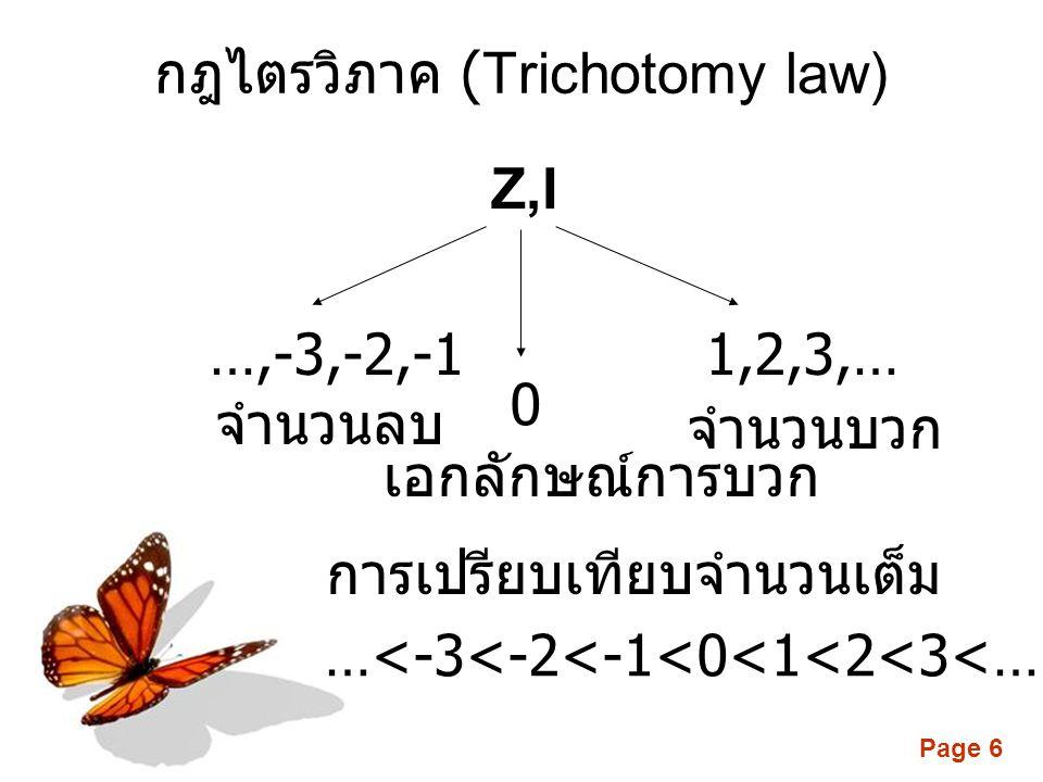Page 6 1,2,3,… 0 …,-3,-2,-1 เอกลักษณ์การบวก จำนวนลบ …<-3<-2<-1<0<1<2<3<… การเปรียบเทียบจำนวนเต็ม จำนวนบวก กฎไตรวิภาค (Trichotomy law) Z,I