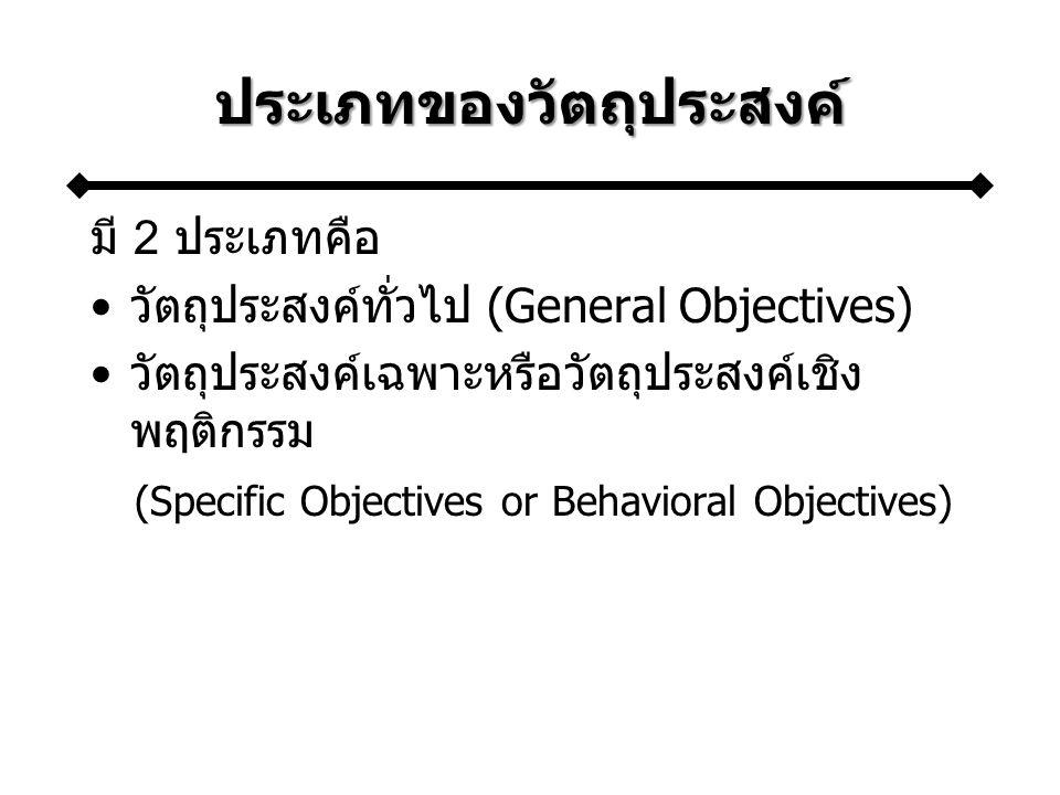 ประเภทของวัตถุประสงค์ มี 2 ประเภทคือ วัตถุประสงค์ทั่วไป (General Objectives) วัตถุประสงค์เฉพาะหรือวัตถุประสงค์เชิง พฤติกรรม (Specific Objectives or Behavioral Objectives)