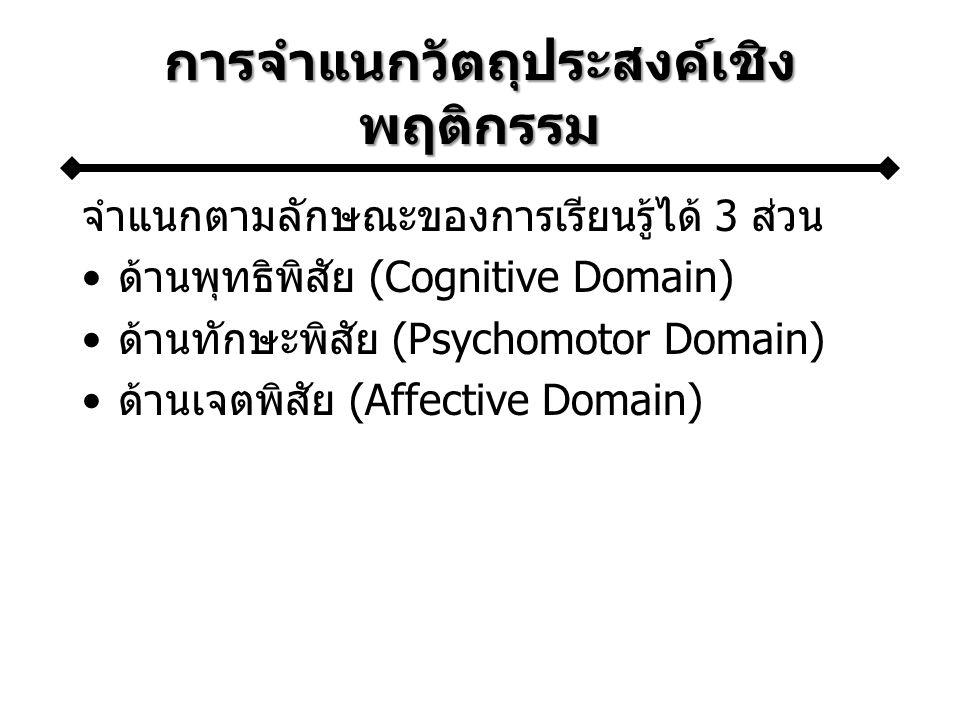 การจำแนกวัตถุประสงค์เชิง พฤติกรรม จำแนกตามลักษณะของการเรียนรู้ได้ 3 ส่วน ด้านพุทธิพิสัย (Cognitive Domain) ด้านทักษะพิสัย (Psychomotor Domain) ด้านเจต