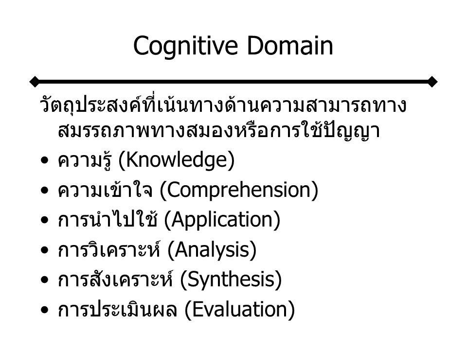 Cognitive Domain วัตถุประสงค์ที่เน้นทางด้านความสามารถทาง สมรรถภาพทางสมองหรือการใช้ปัญญา ความรู้ (Knowledge) ความเข้าใจ (Comprehension) การนำไปใช้ (Application) การวิเคราะห์ (Analysis) การสังเคราะห์ (Synthesis) การประเมินผล (Evaluation)