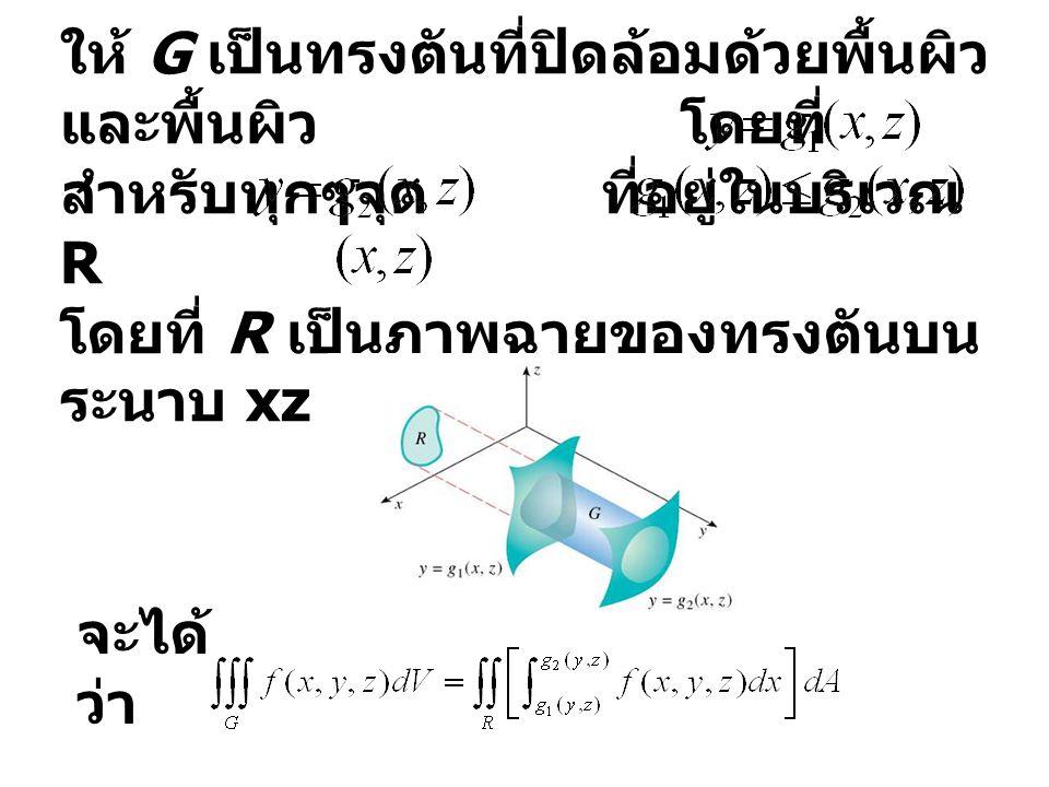 ให้ G เป็นทรงตันที่ปิดล้อมด้วยพื้นผิว และพื้นผิว โดยที่ สำหรับทุกๆจุด ที่อยู่ในบริเวณ R โดยที่ R เป็นภาพฉายของทรงตันบน ระนาบ xz ดังภาพ จะได้ ว่า