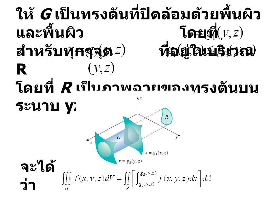 ให้ G เป็นทรงตันที่ปิดล้อมด้วยพื้นผิว และพื้นผิว โดยที่ สำหรับทุกๆจุด ที่อยู่ในบริเวณ R โดยที่ R เป็นภาพฉายของทรงตันบน ระนาบ yz ดังภาพ จะได้ ว่า