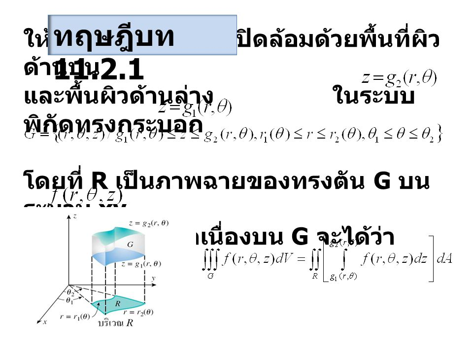 ให้ G เป็นทรงตัน ซึ่งปิดล้อมด้วยพื้นที่ผิว ด้านบน และพื้นผิวด้านล่าง ในระบบ พิกัดทรงกระบอก โดยที่ R เป็นภาพฉายของทรงตัน G บน ระนาบ xy ถ้า ต่อเนื่องบน G จะได้ว่า ทฤษฎีบท 11.2.1