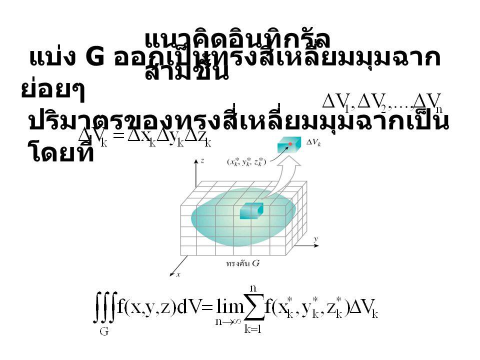 แนวคิดอินทิกรัล สามชั้น แบ่ง G ออกเป็นทรงสี่เหลี่ยมมุมฉาก ย่อยๆ ปริมาตรของทรงสี่เหลี่ยมมุมฉากเป็น โดยที่