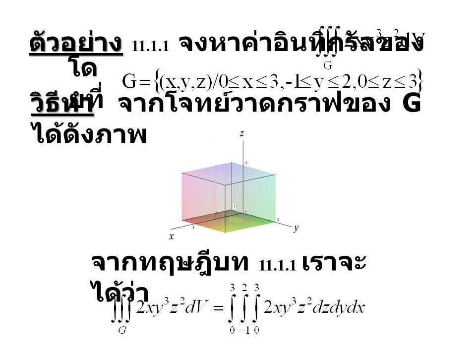 ตัวอย่าง ตัวอย่าง 11.1.1 จงหาค่าอินทิกรัลของ โด ยที่ วิธีทำ วิธีทำ จากโจทย์วาดกราฟของ G ได้ดังภาพ จากทฤษฎีบท 11.1.1 เราจะ ได้ว่า