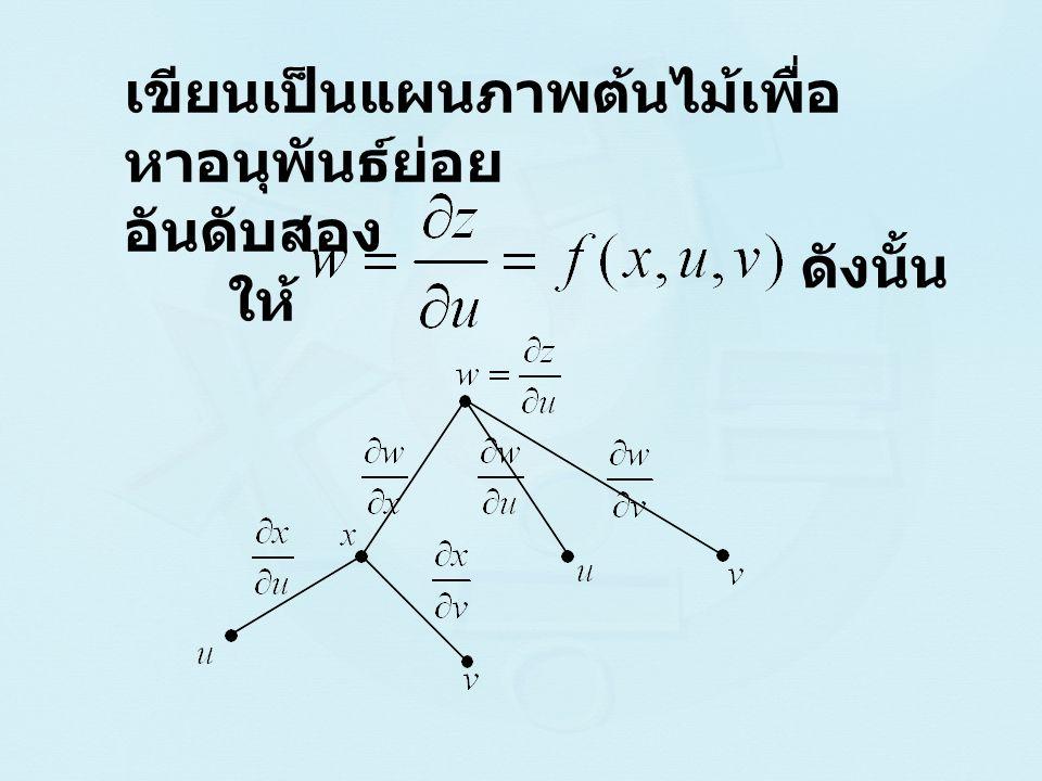 ดังนั้น เขียนเป็นแผนภาพต้นไม้เพื่อ หาอนุพันธ์ย่อย อันดับสอง ให้