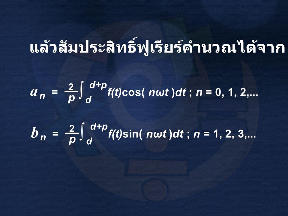 แล้วสัมประสิทธิ์ฟูเรียร์คำนวณได้จาก a = f(t)cos( nωt )dt ; n = 0, 1, 2,... 2 p n ∫ d+p d b = f(t)sin( nωt )dt ; n = 1, 2, 3,... 2 p n ∫ d+p d