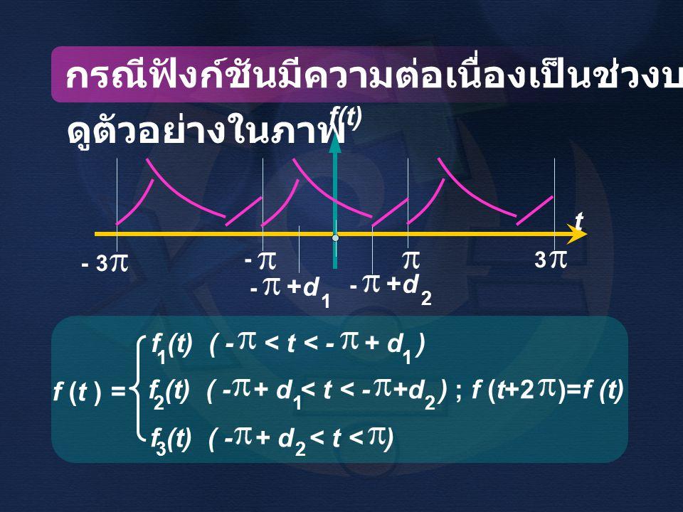 กรณีฟังก์ชันมีความต่อเนื่องเป็นช่วงบนแต่ละคาบ ดูตัวอย่างในภาพ f (t ) = f(t) - 3- 3 - 3 - +d 1 2 t f (t) ( - < t < - + d ) 11 f (t) ( - + d < t < ) 32