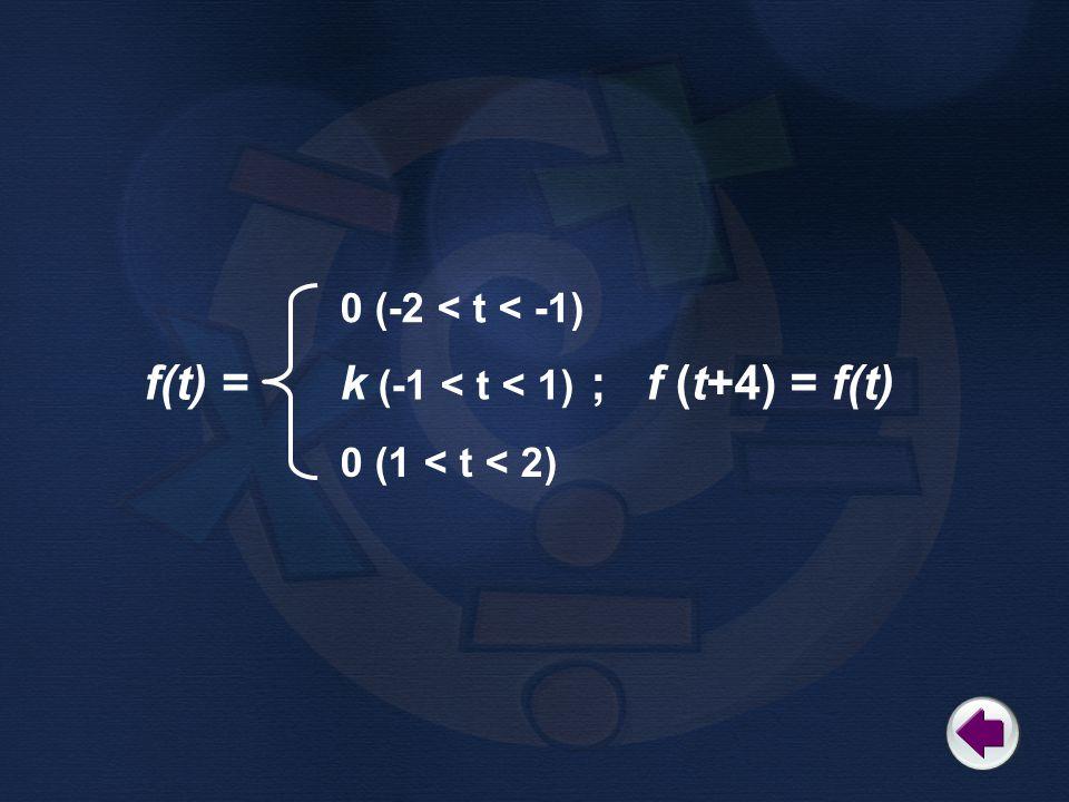 f(t) = ; f (t+4) = f(t) 0 (-2 < t < -1) k (-1 < t < 1) 0 (1 < t < 2)