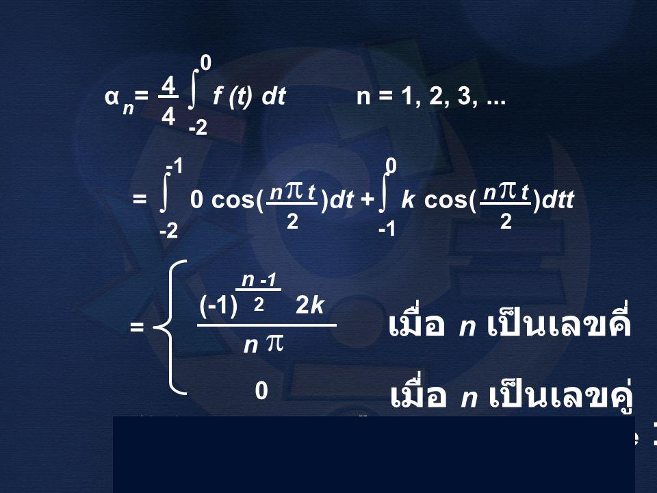 α = f (t) dt n = 1, 2, 3,... n 4444 ∫ -2 0 = 0 cos( )dt + k cos( )dtt ∫ 0 ∫ -2 2 n t 2 = (-1) 2k n 2 n -1 0 ได้ผลลัพธ์เหมือนตัวอย่าง Frame 19 เมื่อ n
