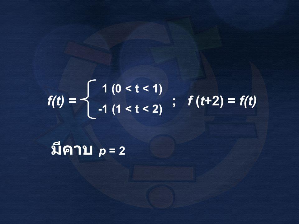f(t) = ; f (t+2) = f(t) 1 (0 < t < 1) -1 (1 < t < 2) มีคาบ p = 2