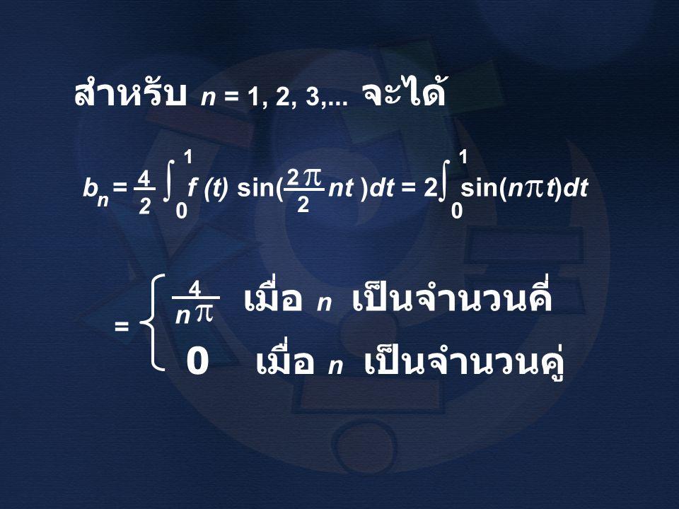 สำหรับ n = 1, 2, 3,... จะได้ b = f (t) sin( nt )dt = 2 sin(n t)dt n 4242 ∫ 1 0 2 2 ∫ 1 0 = n 4 เมื่อ n เป็นจำนวนคี่ 0 เมื่อ n เป็นจำนวนคู่