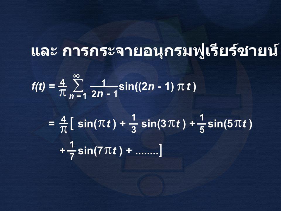 และ การกระจายอนุกรมฟูเรียร์ซายน์ ว่า f(t) = sin((2n - 1) t ) 4 2 n - 1 1 n = 1  ∞ = [ sin( t ) + sin(3 t ) + sin(5 t ) 4 1515 1313 + sin(7 t ) +.....