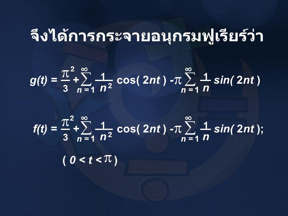 จึงได้การกระจายอนุกรมฟูเรียร์ว่า g(t) = + cos( 2nt ) - sin( 2nt ) 3 n 1 n = 1  ∞ 2  ∞ n 1 f(t) = + cos( 2nt ) - sin( 2nt ); 3 n 1 n = 1  ∞ 2  ∞ n