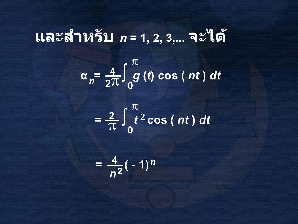 และสำหรับ n = 1, 2, 3,... จะได้ α = g (t) cos ( nt ) dt n 4 2 ∫ 0 2 = ( - 1) 4 n 2 n = t cos ( nt ) dt 2 ∫ 0