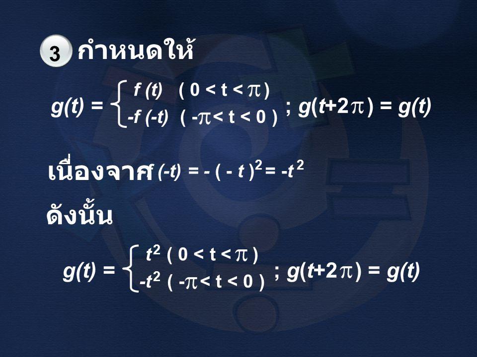 กำหนดให้ 3 g(t) = ; g(t+2 ) = g(t) f (t) ( 0 < t < ) -f (-t) ( - < t < 0 ) 2 -f (-t) = - ( - t ) = -t 2 เนื่องจาก ดังนั้น 2 g(t) = ; g(t+2 ) = g(t) t