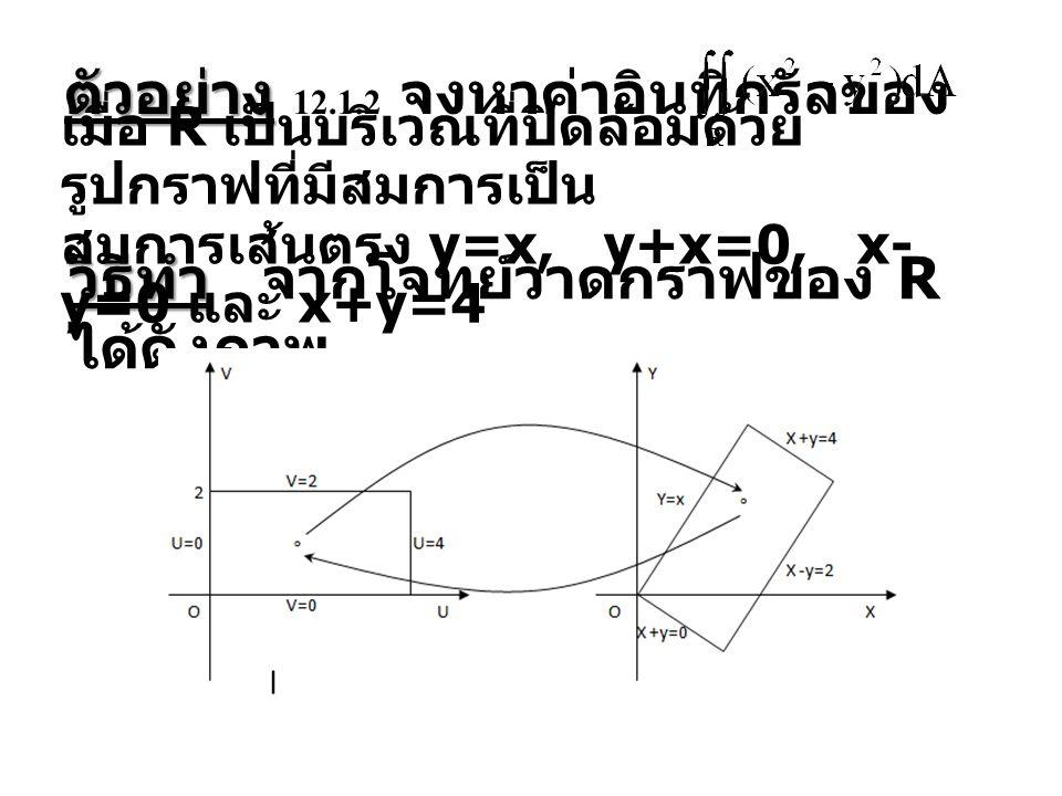 ตัวอย่าง ตัวอย่าง 12.1.2 จงหาค่าอินทิกรัลของ เมื่อ R เป็นบริเวณที่ปิดล้อมด้วย รูปกราฟที่มีสมการเป็น สมการเส้นตรง y=x, y+x=0, x- y=0 และ x+y=4 วิธีทำ ว