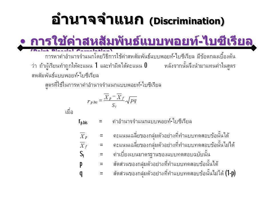 อำนาจจำแนก (Discrimination) การใช้ค่าสหสัมพันธ์แบบพอยท์-ไบซีเรียล (Point-Biserial Correlation)การใช้ค่าสหสัมพันธ์แบบพอยท์-ไบซีเรียล (Point-Biserial Correlation)