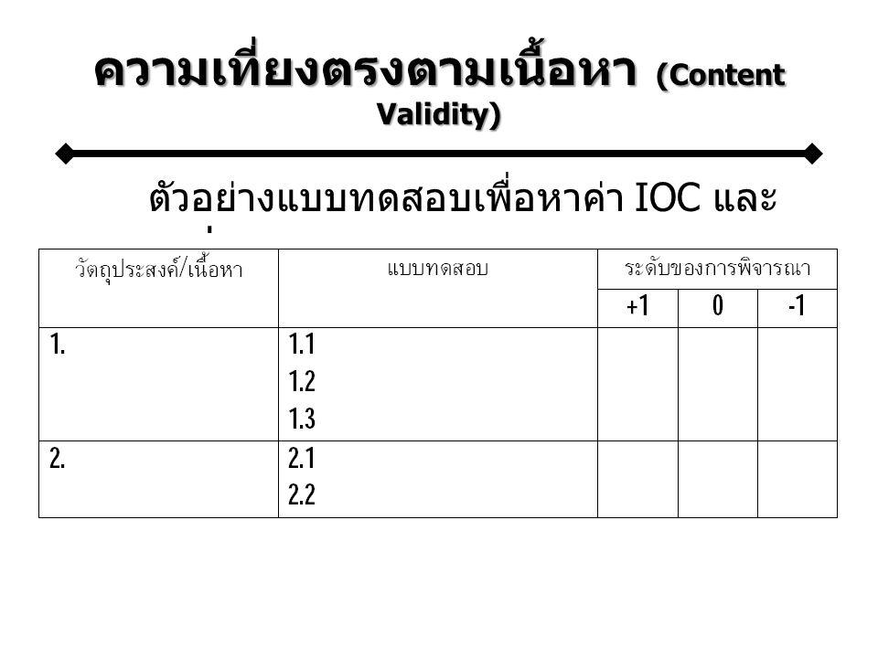 ความเที่ยงตรงตามเนื้อหา (Content Validity) ตัวอย่างแบบทดสอบเพื่อหาค่า IOC และ การแปลผล