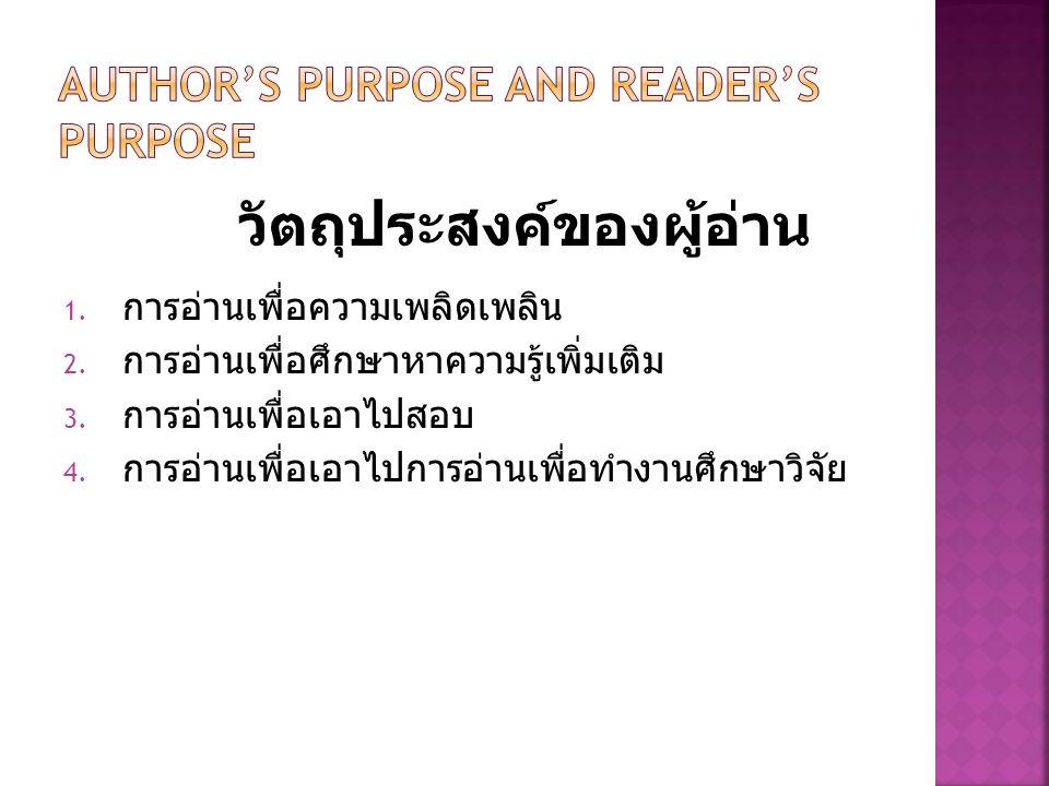 1. การอ่านเพื่อความเพลิดเพลิน 2. การอ่านเพื่อศึกษาหาความรู้เพิ่มเติม 3. การอ่านเพื่อเอาไปสอบ 4. การอ่านเพื่อเอาไปการอ่านเพื่อทำงานศึกษาวิจัย วัตถุประส