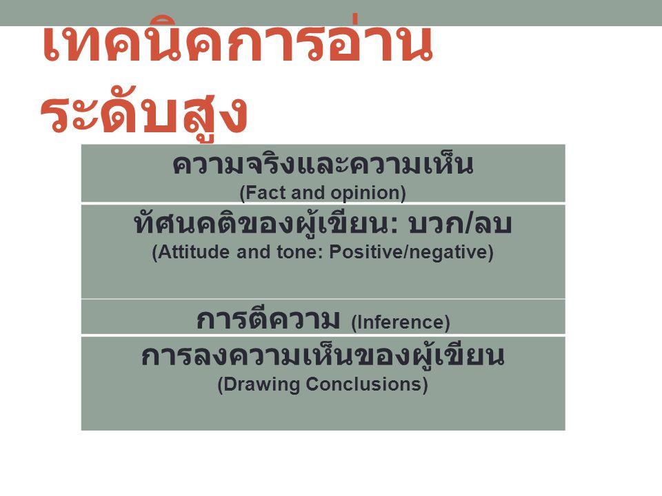 เทคนิคการอ่าน ระดับสูง ความจริงและความเห็น (Fact and opinion) ทัศนคติของผู้เขียน : บวก / ลบ (Attitude and tone: Positive/negative) การตีความ (Inference) การลงความเห็นของผู้เขียน (Drawing Conclusions)