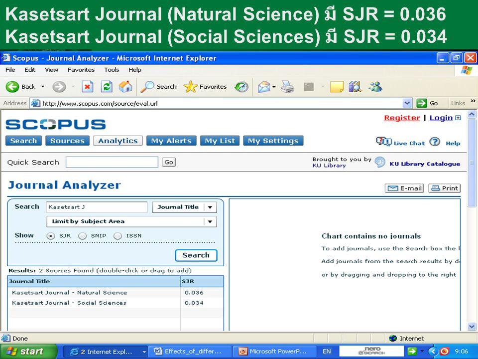 Kasetsart Journal (Natural Science) มี SJR = 0.036 Kasetsart Journal (Social Sciences) มี SJR = 0.034