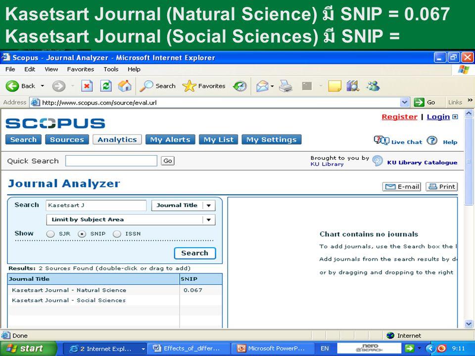 Kasetsart Journal (Natural Science) มี SNIP = 0.067 Kasetsart Journal (Social Sciences) มี SNIP =