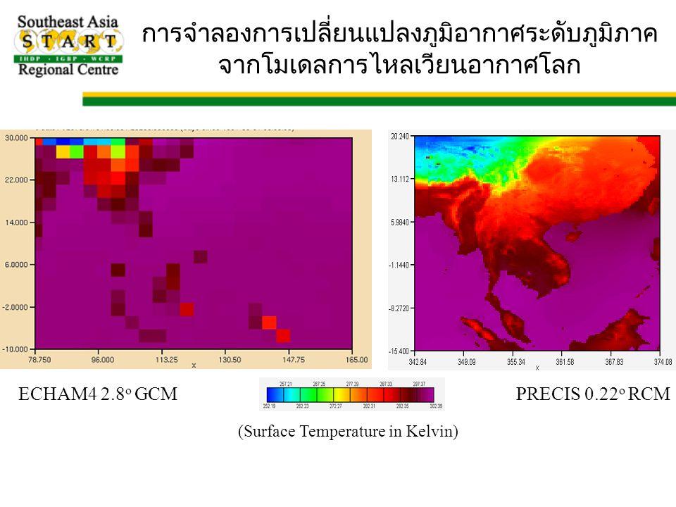 ECHAM4 2.8 o GCMPRECIS 0.22 o RCM (Surface Temperature in Kelvin) การจำลองการเปลี่ยนแปลงภูมิอากาศระดับภูมิภาค จากโมเดลการไหลเวียนอากาศโลก