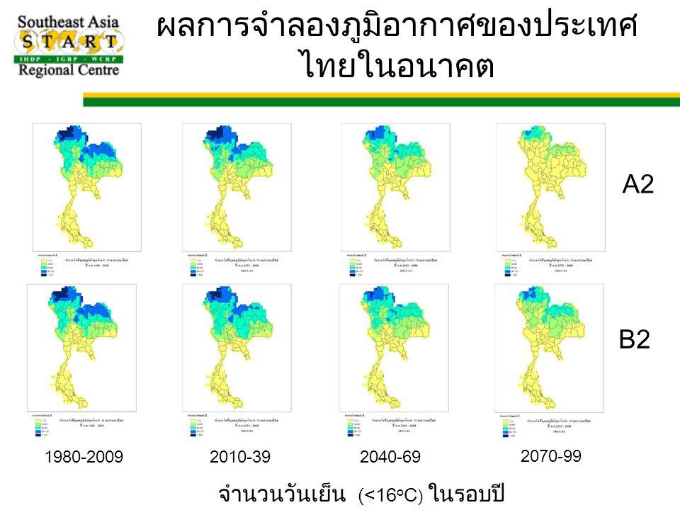 1980-20092010-392040-69 2070-99 A2 B2 จำนวนวันเย็น (<16 o C ) ในรอบปี ผลการจำลองภูมิอากาศของประเทศ ไทยในอนาคต