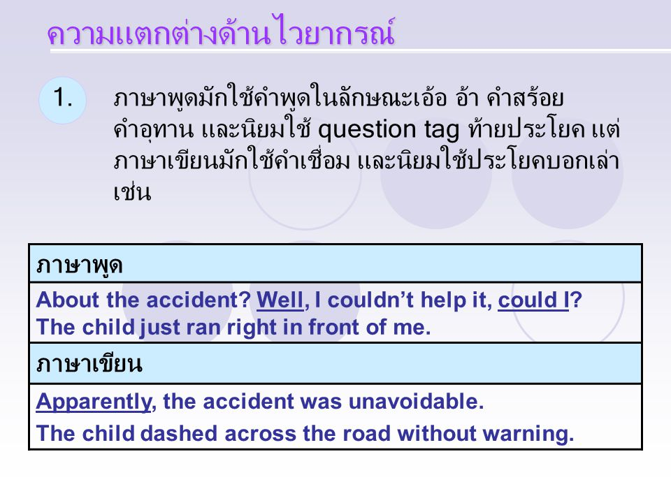 1.ภาษาพูดมักใช้คำพูดในลักษณะเอ้อ อ้า คำสร้อย คำอุทาน และนิยมใช้ question tag ท้ายประโยค แต่ ภาษาเขียนมักใช้คำเชื่อม และนิยมใช้ประโยคบอกเล่า เช่น ภาษาพูด About the accident.
