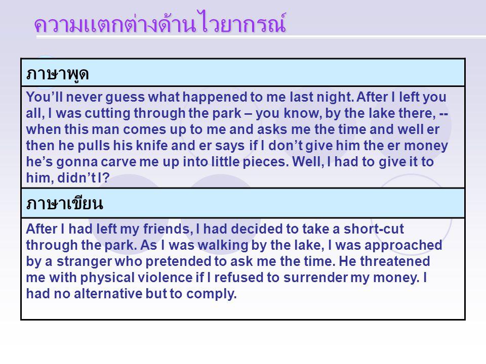 ภาษาพูด You'll never guess what happened to me last night. After I left you all, I was cutting through the park – you know, by the lake there, -- when