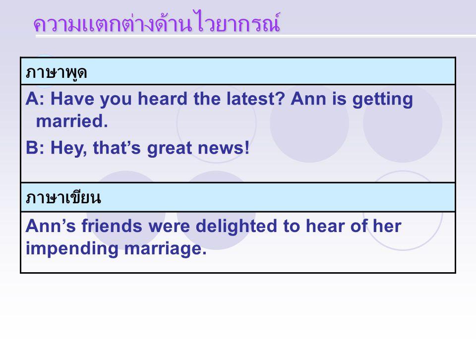 ภาษาพูด A: Have you heard the latest? Ann is getting married. B: Hey, that's great news! ภาษาเขียน Ann's friends were delighted to hear of her impendi