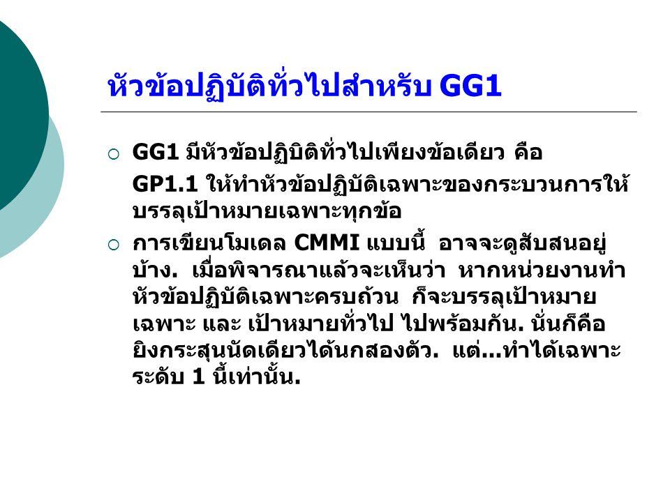 หัวข้อปฏิบัติทั่วไปสำหรับ GG1  GG1 มีหัวข้อปฏิบิติทั่วไปเพียงข้อเดียว คือ GP1.1 ให้ทำหัวข้อปฏิบัติเฉพาะของกระบวนการให้ บรรลุเป้าหมายเฉพาะทุกข้อ  การ