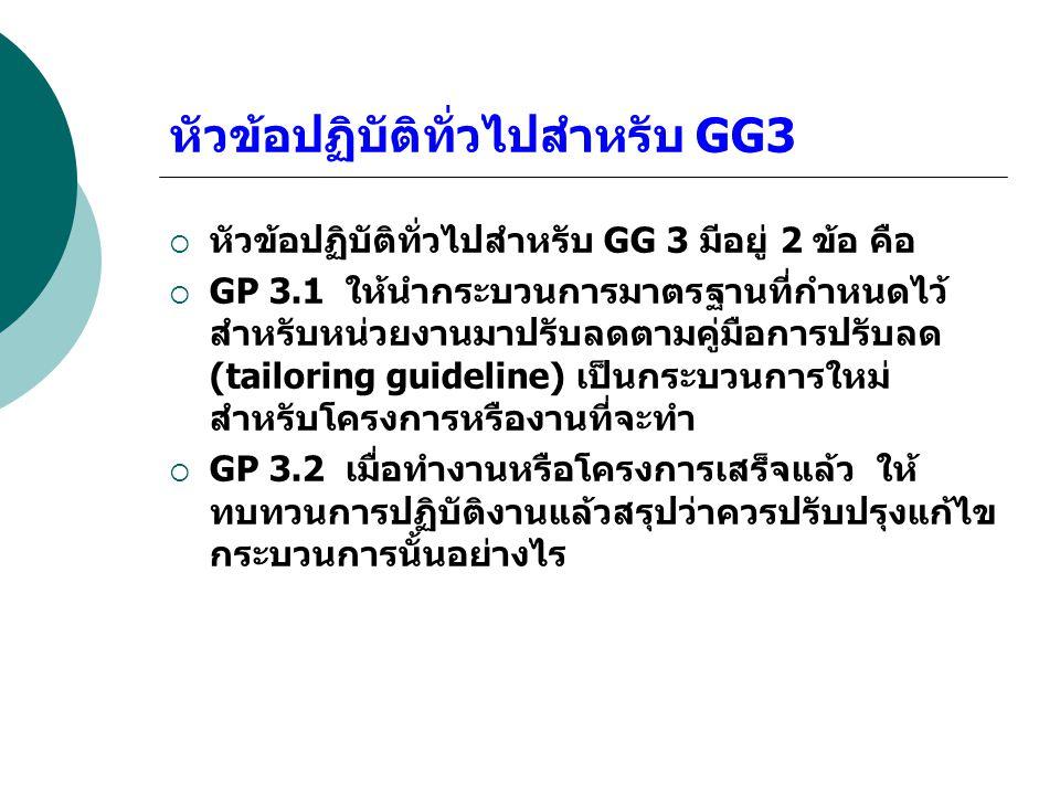 หัวข้อปฏิบัติทั่วไปสำหรับ GG3  หัวข้อปฏิบัติทั่วไปสำหรับ GG 3 มีอยู่ 2 ข้อ คือ  GP 3.1 ให้นำกระบวนการมาตรฐานที่กำหนดไว้ สำหรับหน่วยงานมาปรับลดตามคู่